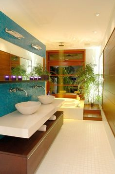 Love this: tropical, easy-going yet clean and classy. The purple lights near the mirror are magical. It's perfect.