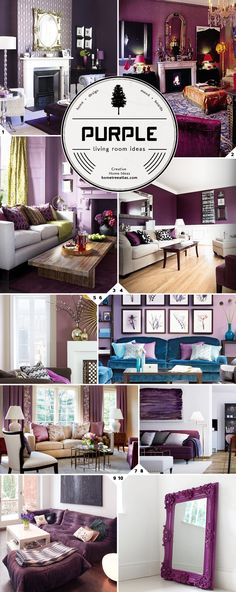 Purple Living Room Design Ideas Home Decor Colores Para Casas Room Colors, Purple Home, Cozy Living Rooms, Living Room Designs, Living Room Decor Purple, House Colors, Purple Living Room, Living Room Paint, Room Design