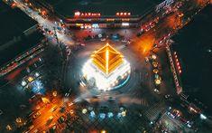 Download wallpapers Japanese city, city lights, Japanese temple, car interchange, Japan