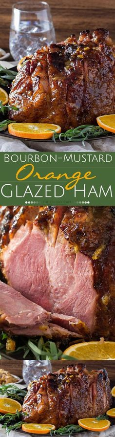 1 inch Bone- half ham. 1/4 cup Dijon mustard, Whole Grain. 2 tbsp Lemon juice, fresh. 1/4 cup Maple syrup, pure. 3/4 cups Orange marmalade. 1 Salt and black pepper. 1/4 cup Bourbon. tsp scant 1/2 ground ginger.