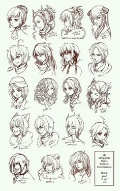 Inspiration: Hair & Expressions ----Manga Art Drawing Sketching Head Hairstyle---- by omocha-san on deviantART]]] Drawing Skills, Drawing Techniques, Drawing Tips, Drawing Reference, Crown Drawing, Drawing Style, Drawing Drawing, Drawing Ideas, Manga Drawing Tutorials