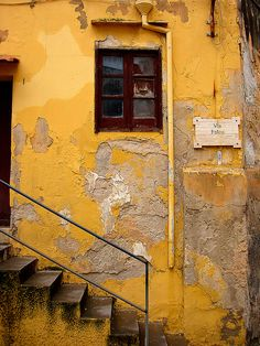 Outside Palermo, Sicily, Italy Old Windows, Windows And Doors, Peeling Paint, Mellow Yellow, Color Yellow, Orange Yellow, Yellow Black, Old Doors, Shades Of Yellow