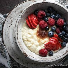 Low Carb Almond Porridge with Berries | Low carb, Gluten-free, Dairy-free, Paleo, Keto, THM | LowCarbMaven.com