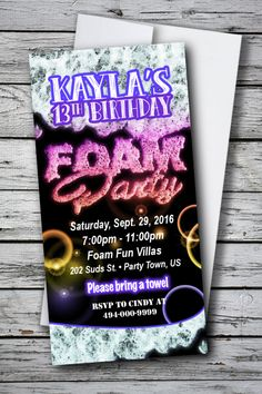 Foam Party Birthday Invitation - Girl or Boy Any Age - U Print Cards Double Birthday Parties, 1st Boy Birthday, Birthday Ideas, Foam Party, Glow Party, Unicorn Invitations, Kids Birthday Party Invitations, Invite, Invitation Envelopes