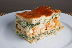Seafood Lasagna (with shrimp, crab and scallops along with layers of spinach and a cheesy bechamel)