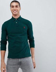 Polo Ralph Lauren slim fit long sleeve pique polo player logo in green at ASOS. Ralph Lauren Slim Fit, Polo Ralph Lauren, Fashion Online, Latest Trends, Long Sleeve, Mens Tops, T Shirt, Xmas, Stuff To Buy