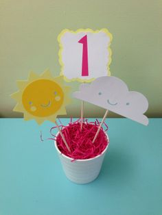 You Are My Sunshine Centerpiece Decoration- Pink & Yellow, Birthday Party Decoration, Baby Shower on Etsy, $15.00
