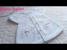 Crochet Baby Dress Free Pattern, Baby Knitting Patterns, Booties Crochet, Crochet Baby Shoes, Cardigan Design, Knitted Flowers, Cross Stitch Bird, Baby Cardigan, Crochet Videos