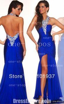2014 New Arrival Robe De Soiree Halter Royal Blue Side Slit Beads Floor Length Open Back Prom Gowns Dresses Long