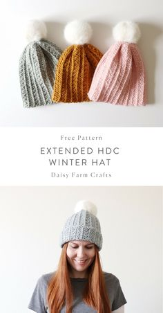 Crochet Hat Free Pattern - Extended Half Double Crochet Winter Hat - I've been trying to use up my stash of Paton's Wool Roving and I decided to make another variation of… Crochet Adult Hat, Crochet Winter Hats, Crochet Beanie, Free Crochet, Knitted Hats, Knit Crochet, Crochet Scarfs, Easy Crochet, Knitting Patterns Free