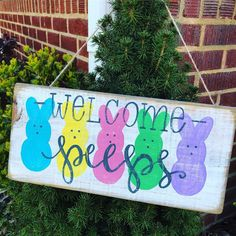 Welcome Peeps wood sign peeps sign Easter sign Easter door hanger welcome Peeps door hanger Easter peeps sign Easter decor wood sign Back to School Crafts Easter Projects, Easter Crafts For Kids, Crafts To Do, Wood Crafts, Diy Crafts, Diy Wood, Bunny Crafts, Wooden Diy, Wooden Projects