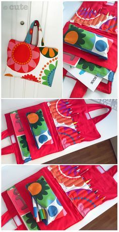 Crayon and coloring book carrier Sewing Hacks, Sewing Tutorials, Sewing Crafts, Sewing Patterns, Tutorial Sewing, Sewing Projects For Kids, Sewing For Kids, Coloring For Kids, Coloring Books