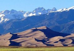 Great Sand Dunes National Park in foreground, Sangre de Cristo Mountains in the background