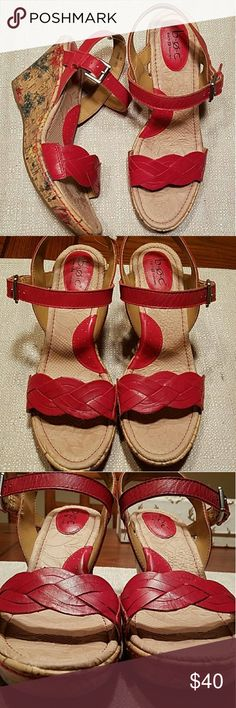 Red Leather & Floral Cork Born Wedge Sandals Pretty & Comfortable (honestly Born is the mooost comfortable brand of shoe) pair of red leather and floral cork wedges; size 8. Worn once. Born Shoes Sandals