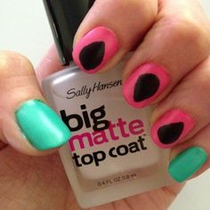 simple watermelon manicure- cute idea, just needs tweaked a little. Starting with the colors...