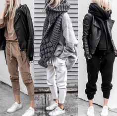 winter outfits with leggings woman___magazine auf - winteroutfits Joggers Outfit, Legging Outfits, Sporty Outfits, Mode Outfits, Athleisure Outfits, Sweatpants, Winter Fashion Outfits, Autumn Winter Fashion, Autumn Outfits