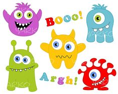 Cute Monsters Digital Clip Art, Digital Clip Art, Ugly Monsters ClipArt, Digital Clipart Pack, Instant Download