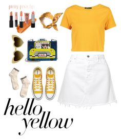 """scream for yellow"" by ciciliadewintastanim on Polyvore featuring Boohoo, Madewell, GRLFRND, Karl Lagerfeld, Gucci, PopsOfYellow and NYFWYellow"