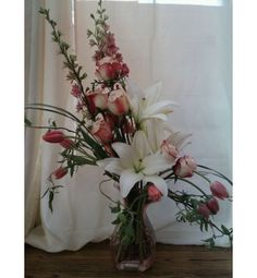 Whimsy~ Lilies, Roses, Tulips, Larkspur with movement...