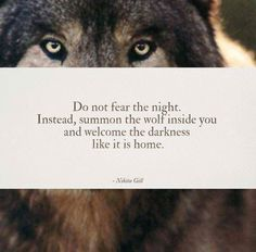 Don't fear the dark, summon the wolf Nikita Gill Nikita Gill, Wolf Spirit, My Spirit Animal, Favorite Quotes, Best Quotes, Quotes To Live By, Life Quotes, Do Not Fear, Word Porn