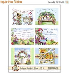 This is a printable collection of six (6) original art Garden Themed Blessing Cards... designed and painted by me. Each one includes a Bible Verse or a word of blessing and encouragement. These make great gifts to tuck in with your correspondence or into a lunchbox as well as encouraging Word gifts or favors for your Womens Ministry Events, Sunday School Class, or Bible Study Group. They are spaced apart so you can cut with or without a small white border. You can also leave plain or punch a…