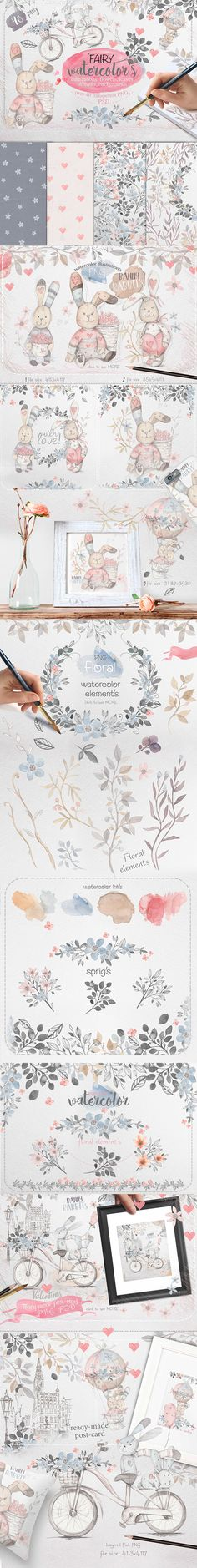 This is art collection with the ​watercolor illustration of cute rabbit's, floral branches​, sprigs pattern's for your any design project. WHAT YOU GET: 40 PNG Watercolor Design, Watercolor Illustration, Graphic Illustration, Design Bundles, Design Projects, Bunny Rabbits, File Size, Graphic Design, Branches