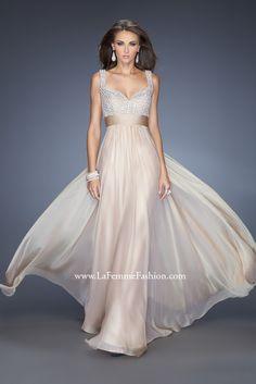 La Femme 20203 - prom dress - jewel encrusted bodice prom dress - long chiffon prom dress - belted waist prom gown - belted waist pageant dress -sweetheart neckline prom dress - chiffon belted prom dress