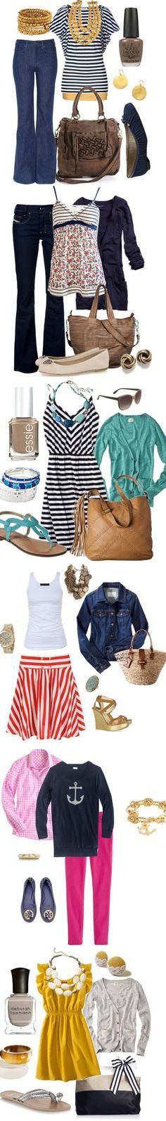 originales combinaciones...  Nautical Spring Fashion 2013 at www.honeybearlane.com #spring #fashion