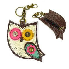 "Chala Owl Key Fob. New Hoohoo Owl - Key Fob / Coin Purse  Conveniently small, fun and functional. Hold your keys with style! Hoohoo Owl with detailed stitching and metal button eyes Zippered coin pocket Textured faux leather trim Features antique brass toned hardware Patterned fabric lining Materials used: Synthetic leather Color: White/brown Approx. Measurements: 3.5"" x 0.25"" x 5.25"". Shop online at The Handbag Store www.shopthehandbagstore.com"