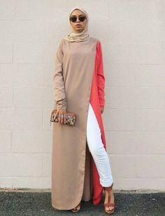 long beige with coral maxi dress