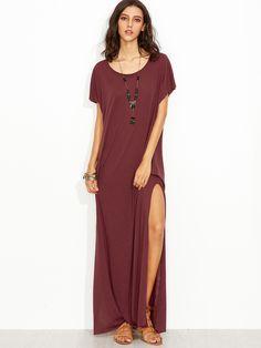 Burgundy Side Slit Loose Fit Maxi Tee Dress  52243dc62