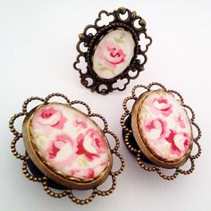 3/4 inch 19mm Rose Cameo Plugs for Stretched Ears by Glamsquared, $43.20