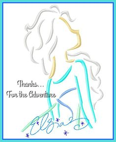 Queen Elsa from Frozen Autograph Combo Sketch Digital Embroidery Machine Applique Design File 5x7 6x10 by Thanks4TheAdventure on Etsy