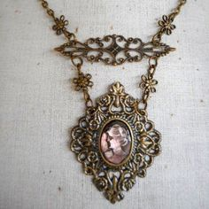 Vintage Pieces Handmade Repurposed Statement Bronze Carved Shell Cameo Necklace…