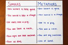 metaphor vs simile for kids - Google Search