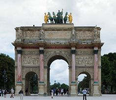 Arc du Carrousel: The Arc de Triomphe du Carrousel is the smallest of the three arches on the Triumphal Way, the central axis between the Louvre and La Défense.
