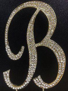 Gold Letter Initial B Birthday Crystal Rhinestone Cake Topper B Party Monogram
