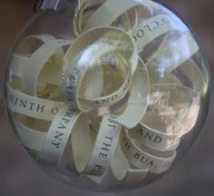 Wedding Invitation Ornament  Take the wedding invitation and cut into strips place into clear ball. Give for first Christmas together or baby's first Christmas