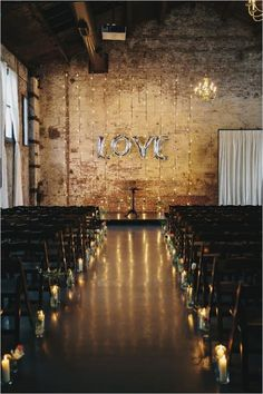 Stunning and romantic lighted ceremony backdrop
