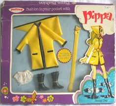 Palitoy Pippa doll first paris collection-Rainy Days 1970s Dolls, Dawn Dolls, Fashion Dolls, Doll Clothes, Barbie, Vintage, Rainy Days, Daisy, Kids