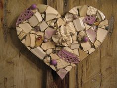 Fat mosaic heart in white and lavender.  Shipping out today to Silver Door Gifting in Houston, Texas!