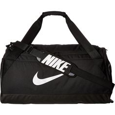 Nike Brasilia Medium Duffel Bag (Black/Black/White) Duffel Bags ($45) ❤ liked on Polyvore featuring bags and luggage
