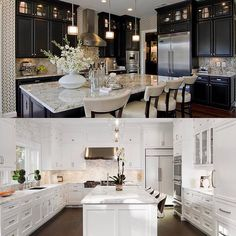 Top or bottom? Which kitchen is your ideal design? Top by: Tamara Johnson - Bottom captured by Barbara Brown Photography.... - Interior Design Ideas, Interior Decor and Designs, Home Design Inspiration, Room Design Ideas, Interior Decorating, Furniture And Accessories