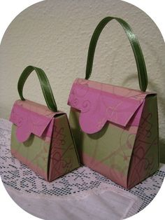 personalized gift bags shaped like a purse   Purse Gift Box and Party Favor Pattern Template and Instructions two ...