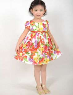New Girls Dress Yellow Flower Party Sundress Kids Clothes Size 2-10 Years