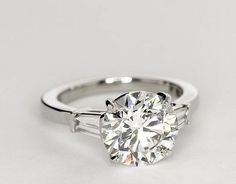 Tapered Baguette Diamond Engagement Ring in Platinum   Blue Nile