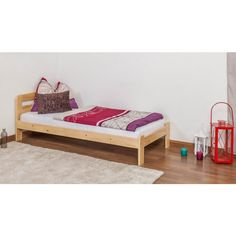 Cot / youth bed pine timber solid natural A5, including slatted frame -. Dimension 90 x 200 cm