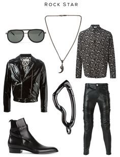 Rock Star fashion set Clockwise: '236' Sunglasses by Linda Farrow, Carved Claw Necklace by Roman Paul, Paisley Print Shirt by Saint Laurent, Trousers by Les Hommes, Arcus carabiner by SVORN, 'Hedi'  boots and Biker Jacket by Saint Laurent