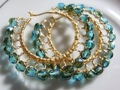 Dark Aquamarine Celsian and Gold Wire laced Hoop Earrings, thank you, Stephanie