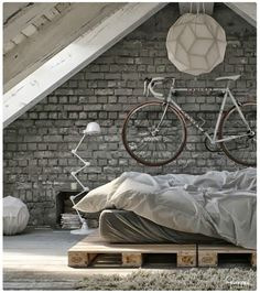 industrial loft style bedroom - Google Search